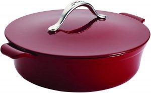Anolon Vesta BraiserShort Cast Iron Dutch Oven, 5 Quart, Paprika Red